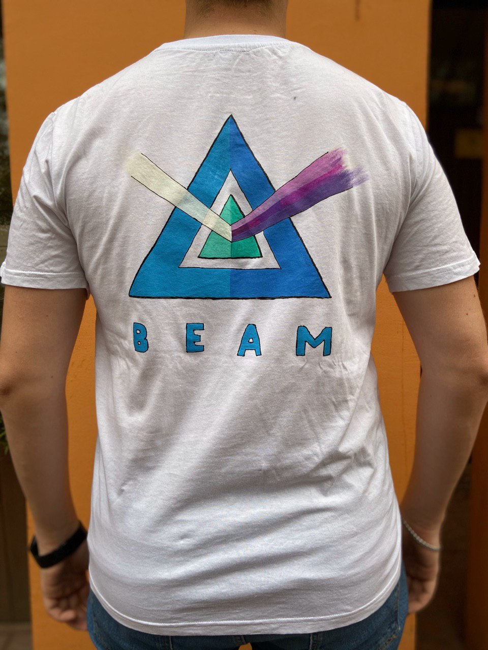 Beam T-shirt White | Hand-Painted