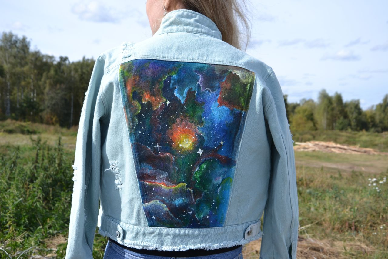 Albion's nebula | Jeans Jacket | Hand-painted