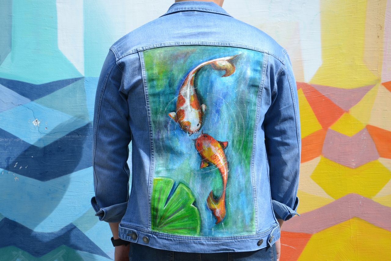 GoldFish | Jeans Jacket | Hand-painted